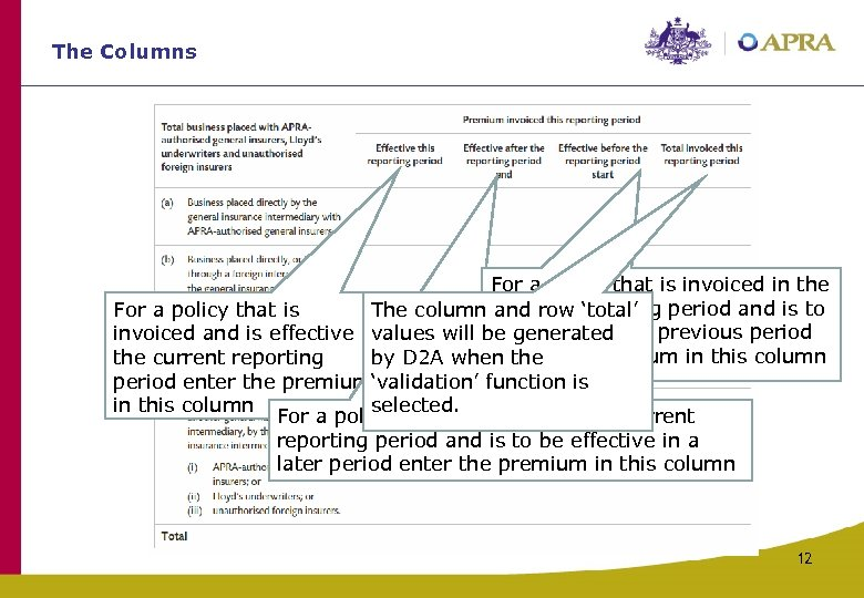 The Columns For a policy that is invoiced in the For a policy that