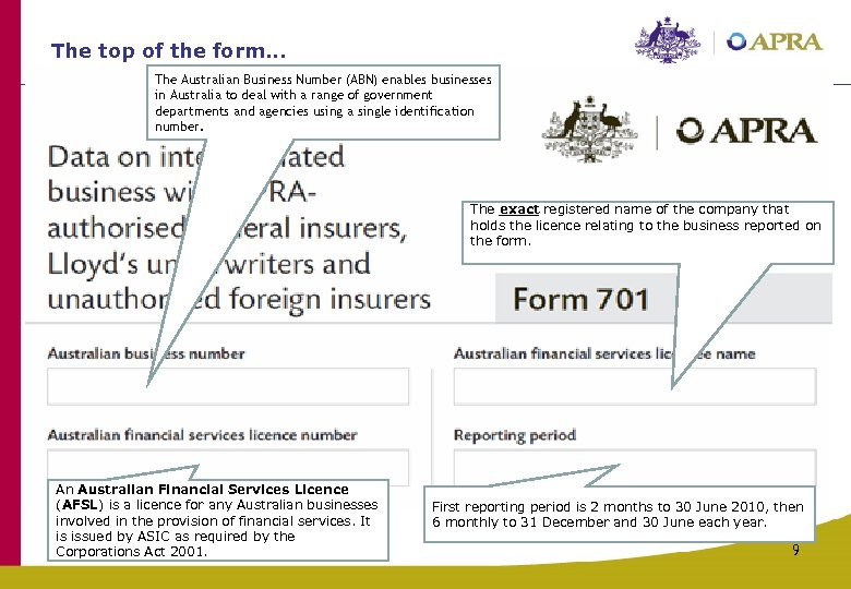 The top of the form. . . The Australian Business Number (ABN) enables businesses