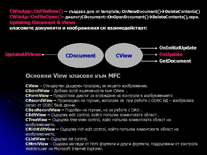 CWin. App: : On. File. New() – създава док от template; On. New. Document()