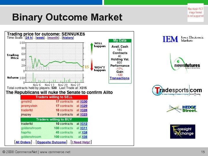 Binary Outcome Market © 2006 Commerce. Net | www. commerce. net 15