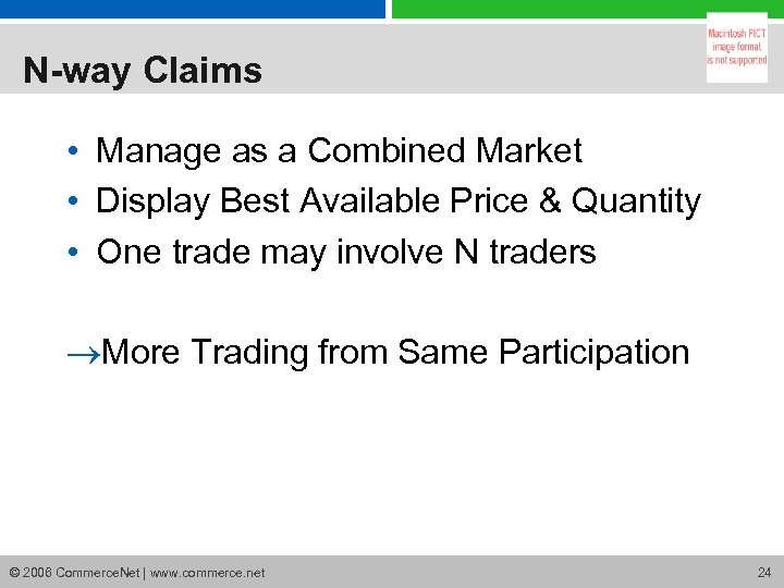 N-way Claims • Manage as a Combined Market • Display Best Available Price &