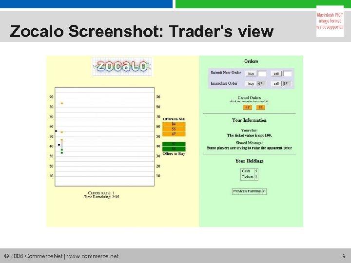 Zocalo Screenshot: Trader's view © 2006 Commerce. Net | www. commerce. net 9