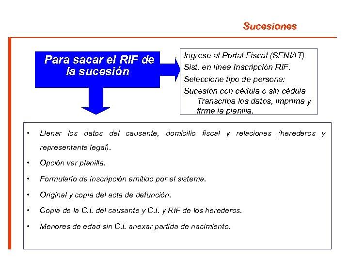Sucesiones Para sacar el RIF de la sucesión • Ingrese al Portal Fiscal (SENIAT)