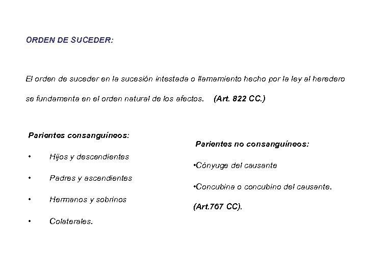 ORDEN DE SUCEDER: El orden de suceder en la sucesión intestada o llamamiento hecho