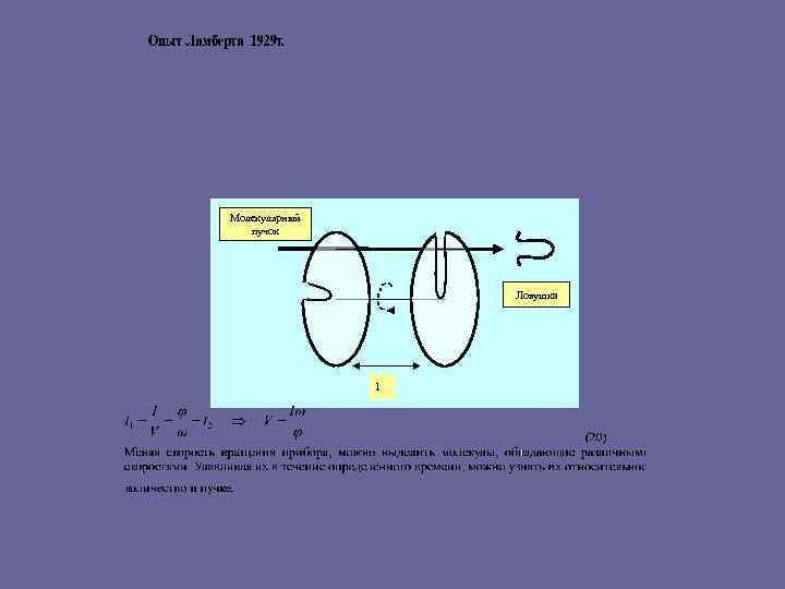Молекулярный пучок Ловушка l