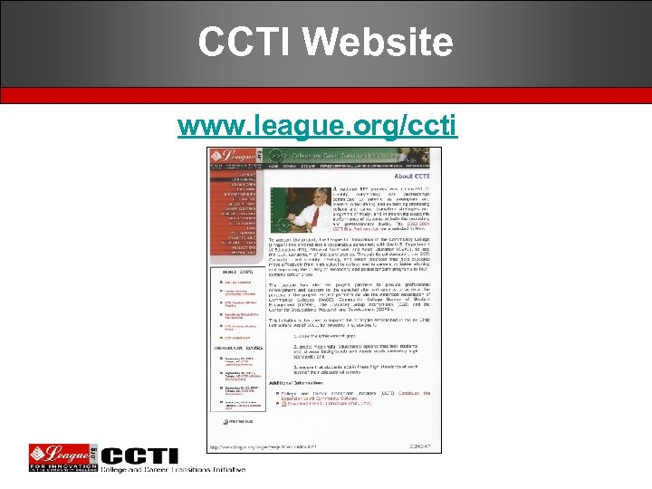 CCTI Website www. league. org/ccti