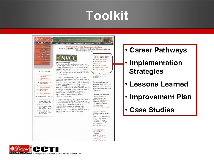 Toolkit • Career Pathways • Implementation Strategies • Lessons Learned • Improvement Plan •