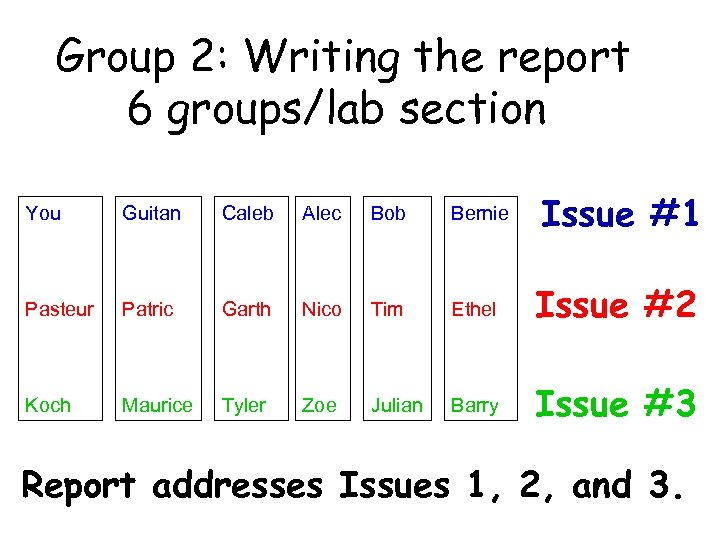Group 2: Writing the report 6 groups/lab section You Guitan Caleb Alec Bob Bernie