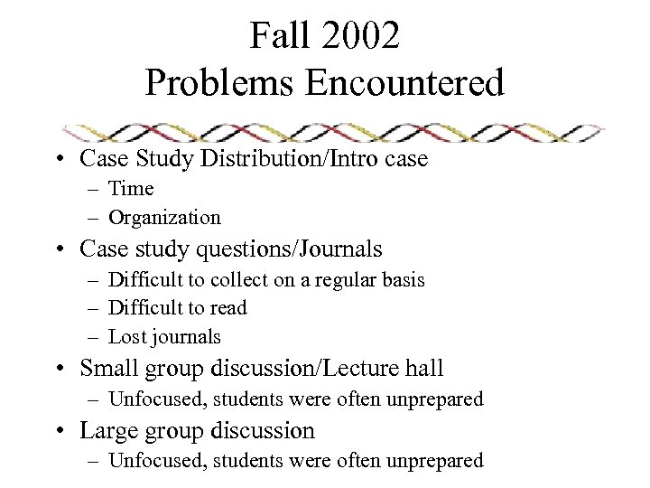 Fall 2002 Problems Encountered • Case Study Distribution/Intro case – Time – Organization •
