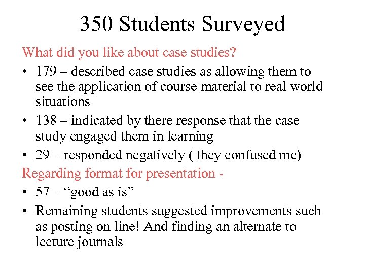 350 Students Surveyed What did you like about case studies? • 179 – described