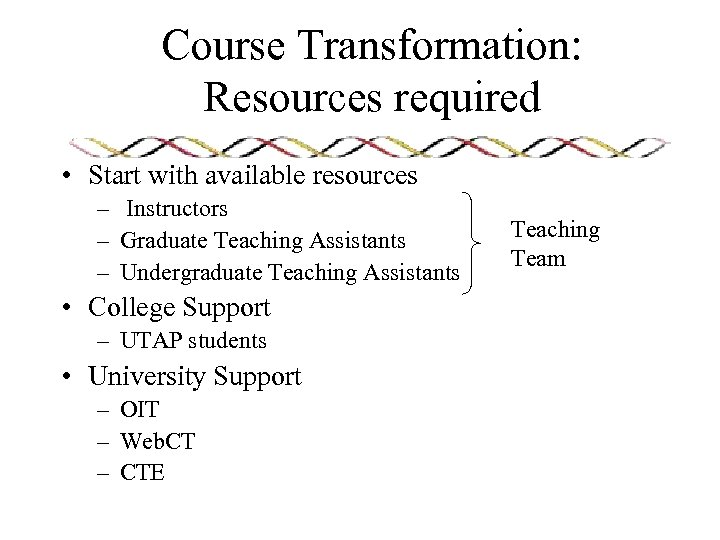 Course Transformation: Resources required • Start with available resources – Instructors – Graduate Teaching