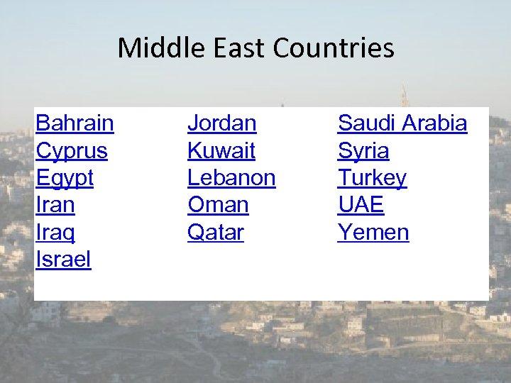 Middle East Countries Bahrain Cyprus Egypt Iran Iraq Israel Jordan Kuwait Lebanon Oman Qatar