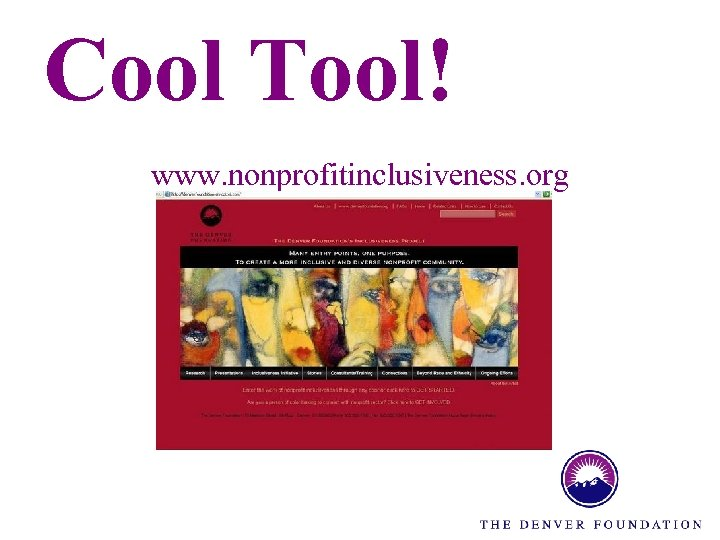 Cool Tool! www. nonprofitinclusiveness. org