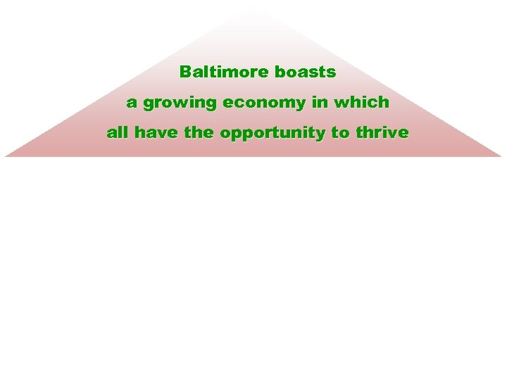 Baltimore boasts a growing economy in which all have the opportunity to thrive Diversity