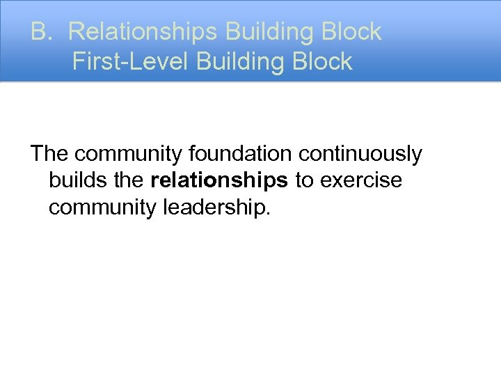 B. Relationships Building Block First-Level Building Block The community foundation continuously builds the relationships