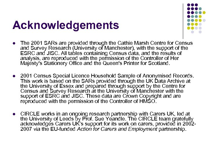 Acknowledgements l The 2001 SARs are provided through the Cathie Marsh Centre for Census