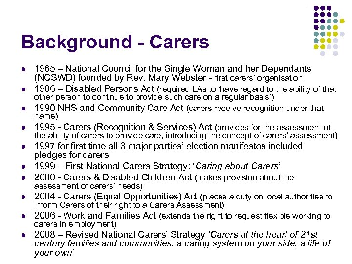 Background - Carers l l 1965 – National Council for the Single Woman and