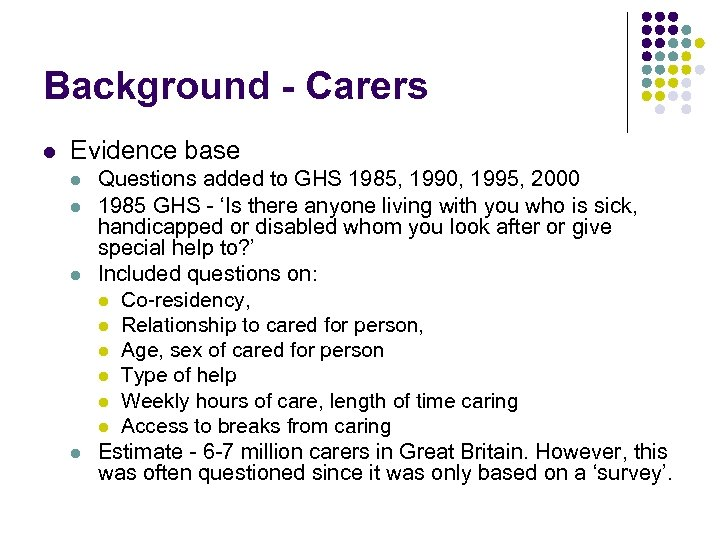 Background - Carers l Evidence base l l Questions added to GHS 1985, 1990,