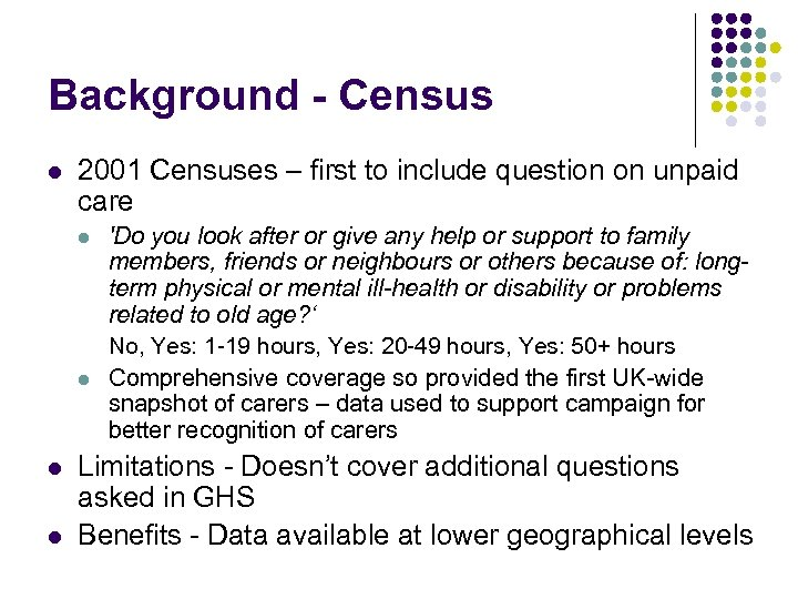 Background - Census l 2001 Censuses – first to include question on unpaid care