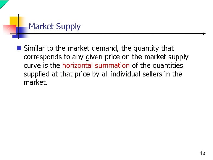 Market Supply n Similar to the market demand, the quantity that corresponds to any