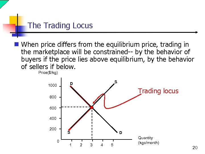 The Trading Locus n When price differs from the equilibrium price, trading in the