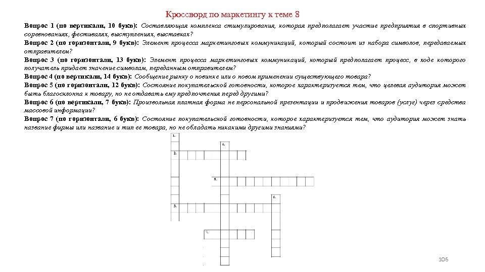Кроссворд по маркетингу к теме 8 Вопрос 1 (по вертикали, 10 букв): Составляющая комплекса