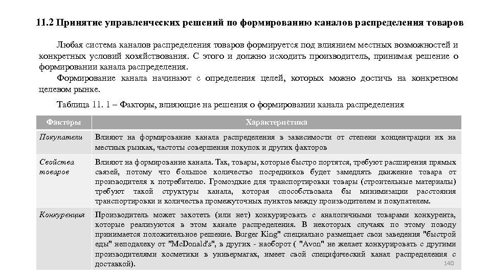 11. 2 Принятие управленческих решений по формированию каналов распределения товаров Любая система каналов распределения