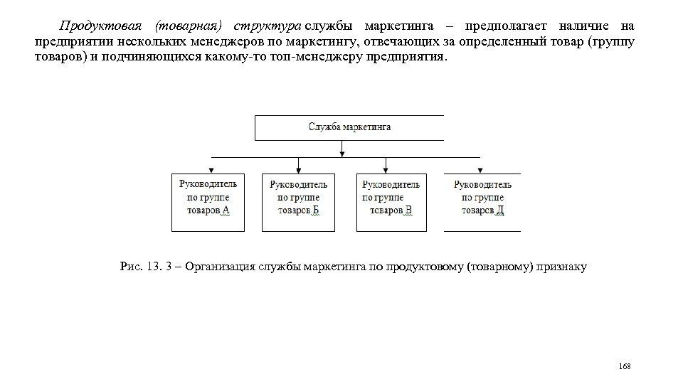 Продуктовая (товарная) структура службы маркетинга – предполагает наличие на предприятии нескольких менеджеров по маркетингу,