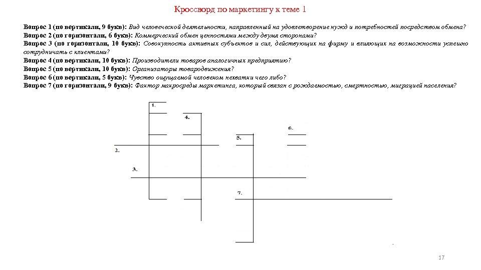 Кроссворд по маркетингу к теме 1 Вопрос 1 (по вертикали, 9 букв): Вид человеческой