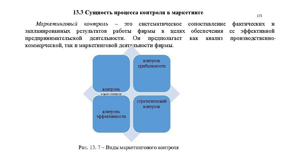 13. 3 Сущность процесса контроля в маркетинге 172 Маркетинговый контроль – это систематическое сопоставление