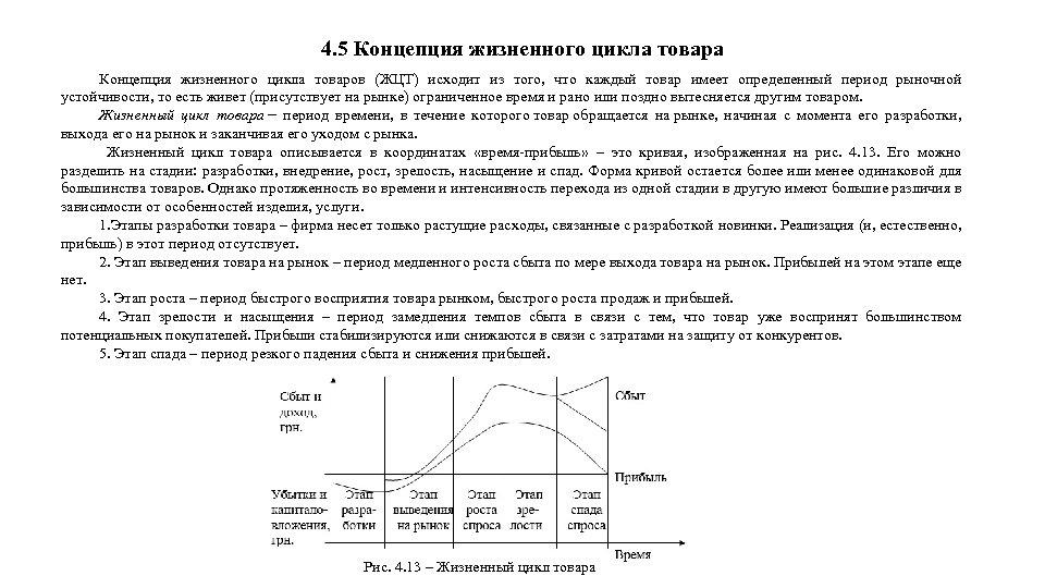 4. 5 Концепция жизненного цикла товара Концепция жизненного цикла товаров (ЖЦТ) исходит из того,
