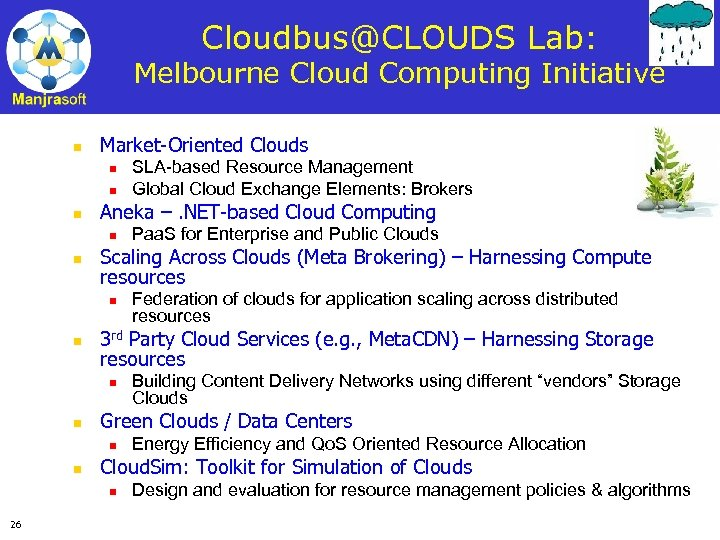 Cloudbus@CLOUDS Lab: Melbourne Cloud Computing Initiative n Market-Oriented Clouds n n n Aneka –.