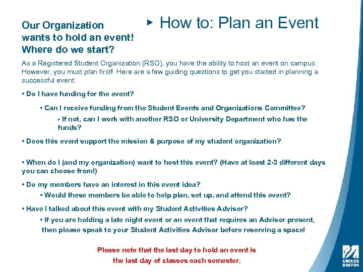 Our Organization wants to hold an event! Where do we start? ▸ How to: