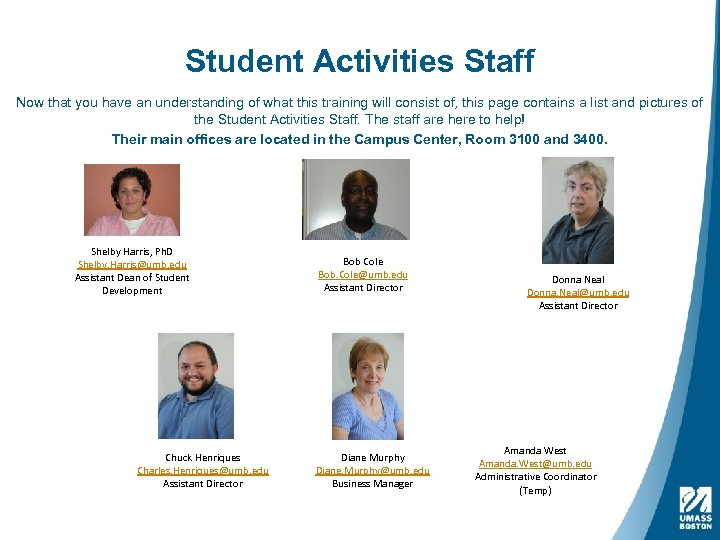 Student Activities Staff Now that you have an understanding of what this training will