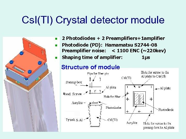 Cs. I(Tl) Crystal detector module n n n 2 Photodiodes + 2 Preamplifiers+1 amplifier