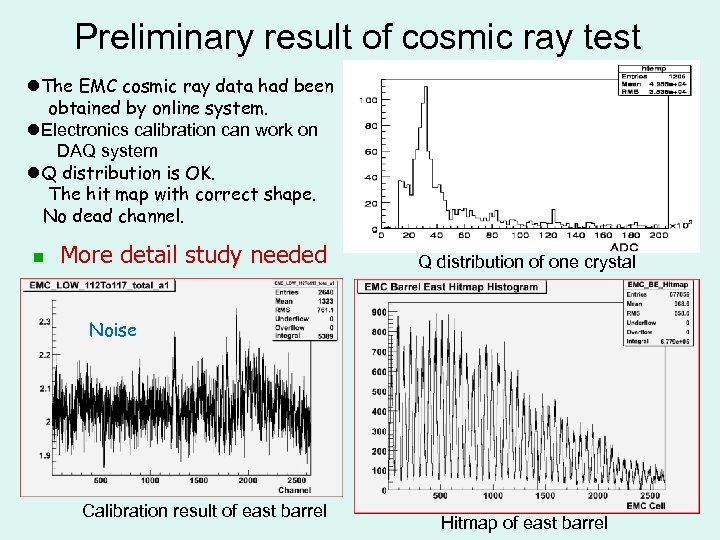 Preliminary result of cosmic ray test l. The EMC cosmic ray data had been