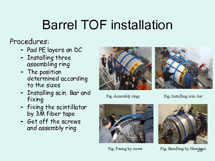 Barrel TOF installation Procedures: – Pad PE layers on DC – Installing three assembling