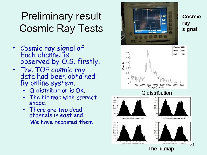 Preliminary result Cosmic Ray Tests Cosmic ray signal • Cosmic ray signal of Each