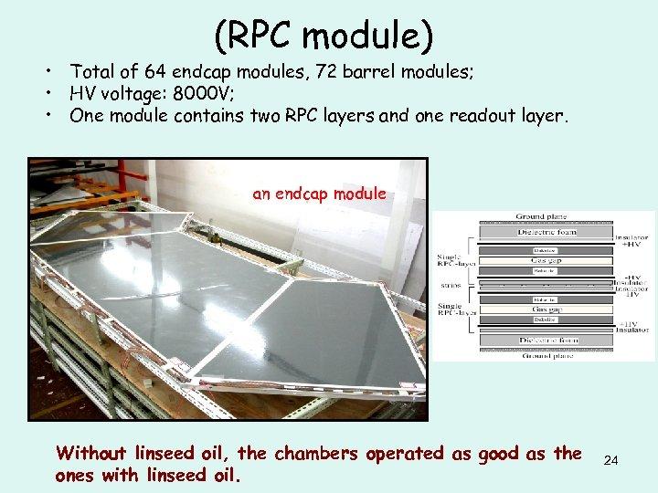 (RPC module) • Total of 64 endcap modules, 72 barrel modules; • HV voltage: