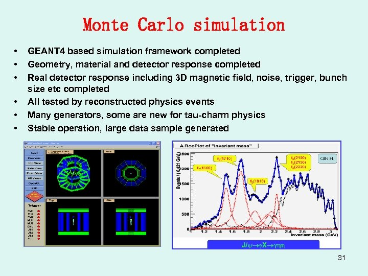 Monte Carlo simulation • • • GEANT 4 based simulation framework completed Geometry, material