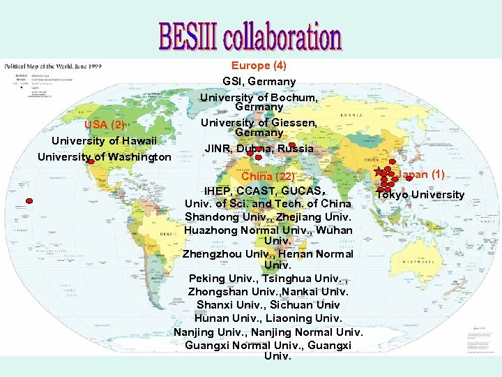 USA (2) University of Hawaii University of Washington Europe (4) GSI, Germany University of