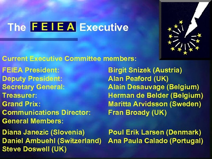 The F E I E A Executive Current Executive Committee members: FEIEA President: Deputy