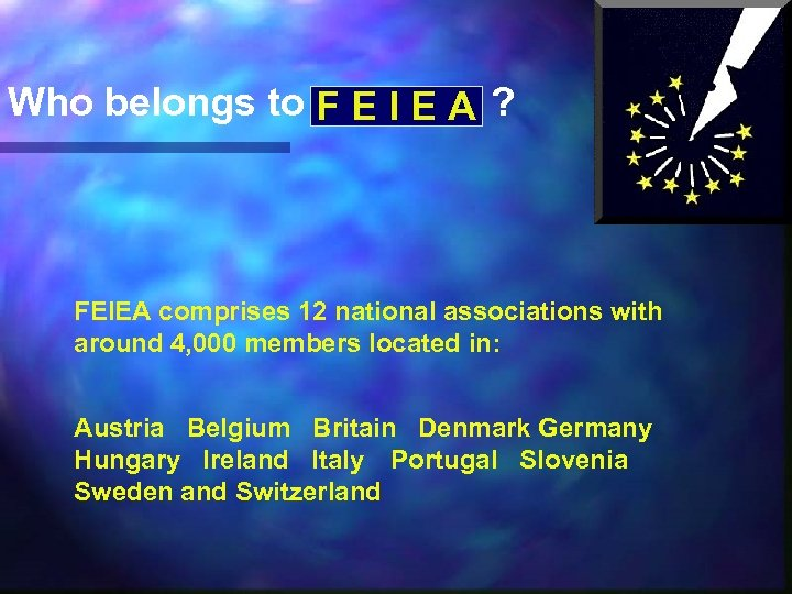 Who belongs to F E I E A ? FEIEA comprises 12 national associations
