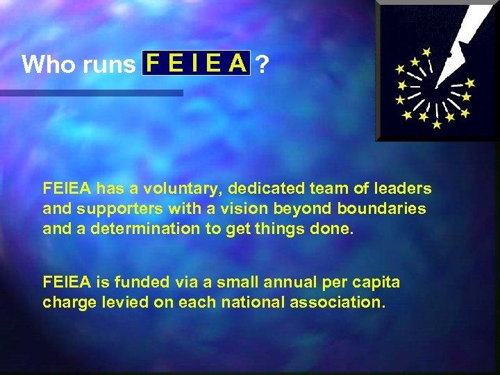Who runs F E I E A ? FEIEA has a voluntary, dedicated team