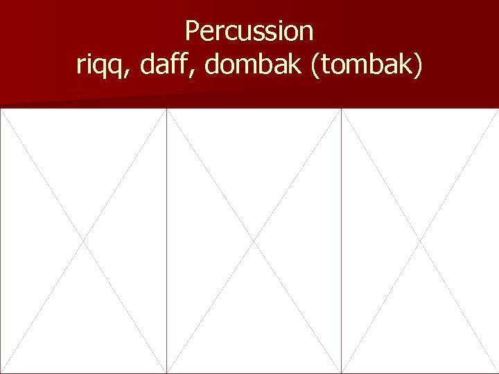 Percussion riqq, daff, dombak (tombak)