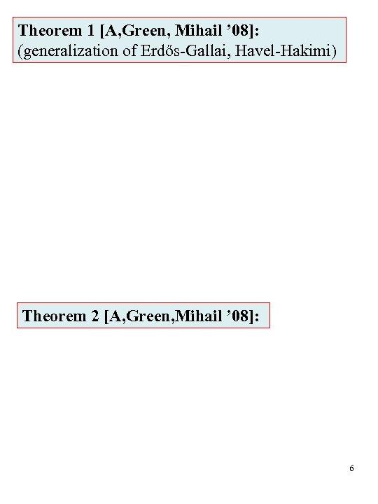 Theorem 1 [A, Green, Mihail ' 08]: (generalization of Erdős-Gallai, Havel-Hakimi) Theorem 2 [A,
