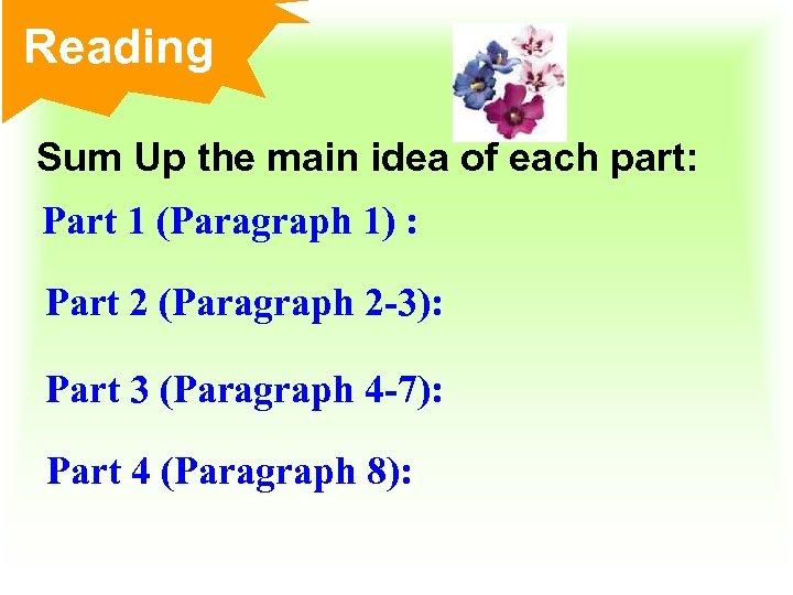 Reading Sum Up the main idea of each part: Part 1 (Paragraph 1) :