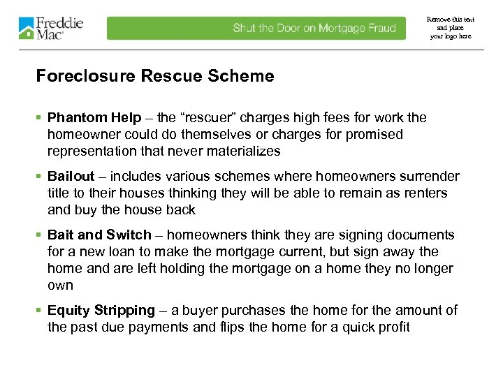 Remove this text and place your logo here Foreclosure Rescue Scheme § Phantom Help