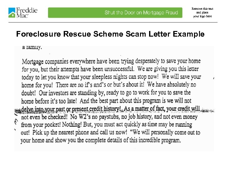 Remove this text and place your logo here Foreclosure Rescue Scheme Scam Letter Example