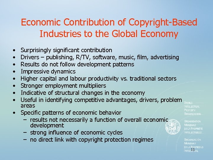 Economic Contribution of Copyright-Based Industries to the Global Economy • • Surprisingly significant contribution